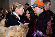 ASSIA WEBSTER; JACKIE MARTIN; VIRGINIA BATES, THE LAUNCH OF THE KRUG HAPPINESS EXHIBITION AT THE ROYAL ACADEMY, London. 12 December 2011.