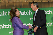 Elizabeth Colbert Busch the democratic candidate for the open Congressional seat with republican candidate Gov. Mark Sanford following their debate at the Citadel on April 29, 2013 in Charleston, South Carolina.