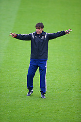 NEWPORT, WALES - Saturday, May 24, 2014: Wales national team manager Chris Coleman gives a practical demonstration during the Football Association of Wales' National Coaches Conference 2014 at Dragon Park FAW National Development Centre. (Pic by David Rawcliffe/Propaganda)