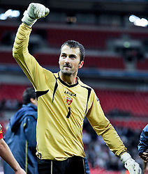12.10.2010, Wembley Stadium, London, ENG, UEFA 2012 Qualifier, England vs Montenegro, im Bild Mladen Bozovic of Montenegro celebrates at the end of the game..ENGLAND v MONTENEGRO, EXPA Pictures © 2010, PhotoCredit: EXPA/ IPS/ Sean Ryan *** ATTENTION *** UK AND FRANCE OUT!