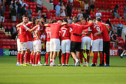 Charlton Athletic Head Coach Russell Slade holding a team talk on the pitch after the final whistle during the EFL Sky Bet Championship match between Charlton Athletic and Bolton Wanderers at The Valley, London, England on 27 August 2016. Photo by Matthew Redman.