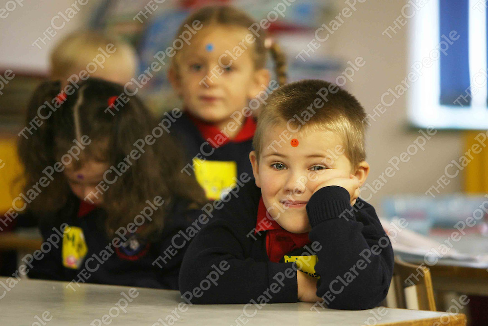 Krzysztof Sliva on his  first day at school at Scoil na Maighdine Mhuire,Newmarket.<br /> <br /> Photograph by Eamon Ward