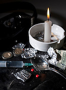 Drug abuse concept, Heroin shoot up tools and drugs and money
