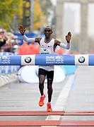 Eliud Kipchoge (KEN) celebrates after winning the 44th Berlin Marathon in 2:03.32 in Berlin, Germany on Sunday, September 24, 2017. (Jiro Mochizuki/Image of Sport)