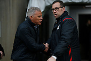 David Artell and Keith Curle before the EFL Sky Bet League 2 match between Northampton Town and Crewe Alexandra at the PTS Academy Stadium, Northampton, England on 16 November 2019.