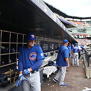 Anthony Rizzo, Chicago Cubs, in the dugout preparing to bat during the New York Mets Vs Chicago Cubs MLB regular season baseball game at Citi Field, Queens, New York. USA. 2nd July 2015. Photo Tim Clayton