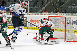02.11.2014, Curt-Frenzel-Stadion, Augsburg, GER, DEL, Augsburger Panther vs Schwenninger Wild Wings, 16. Runde, im Bild l-r: im Zweikampf, Aktion, mit Patrick Seifert #20 (Augsburger Panther), MacGregor Sharp #16 (Schwenninger Wild Wings) und Markus Keller #35 (Augsburger Panther) // during Germans DEL Icehockey League 16th round match between Augsburger Panther and Schwenninger Wild Wings at the Curt-Frenzel-Stadion in Augsburg, Germany on 2014/11/02. EXPA Pictures © 2014, PhotoCredit: EXPA/ Eibner-Pressefoto/ Kolbert<br /> <br /> *****ATTENTION - OUT of GER*****