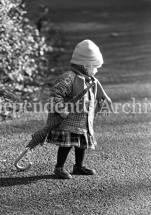 Alyson O'Connell (16 Months) is well wrapped up as she took a stroll in St Stephen's Green, Dublin, circa February 1996 (Part of the Independent Newspapers Ireland/NLI Collection).