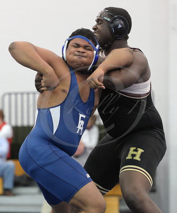 Staff photos by Tom Kelly IV<br /> Haverford's Chauncey Simmons takes on Episcopal's Dallas Taylor in the 285 pound match, during the Haverford School at Episcopal Academy wrestling match, Friday afternoon January 30, 2015.