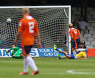 Picture by David Horn/Focus Images Ltd +44 7545 970036<br /> 03/08/2013<br /> Mark Cullen of Luton Town scores his side's second goal to make it 2-0 during the Friendly match at Kenilworth Road, Luton.