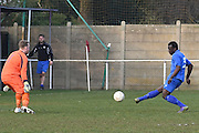 Greenwich Borough's Cisro Embela shoots pass the keeper (6-0) during the Southern Counties East match between AFC Croydon Athletic and Greenwich Borough at the Mayfield Stadium, Croydon, United Kingdom on 12 March 2016. Photo by Martin Cole.