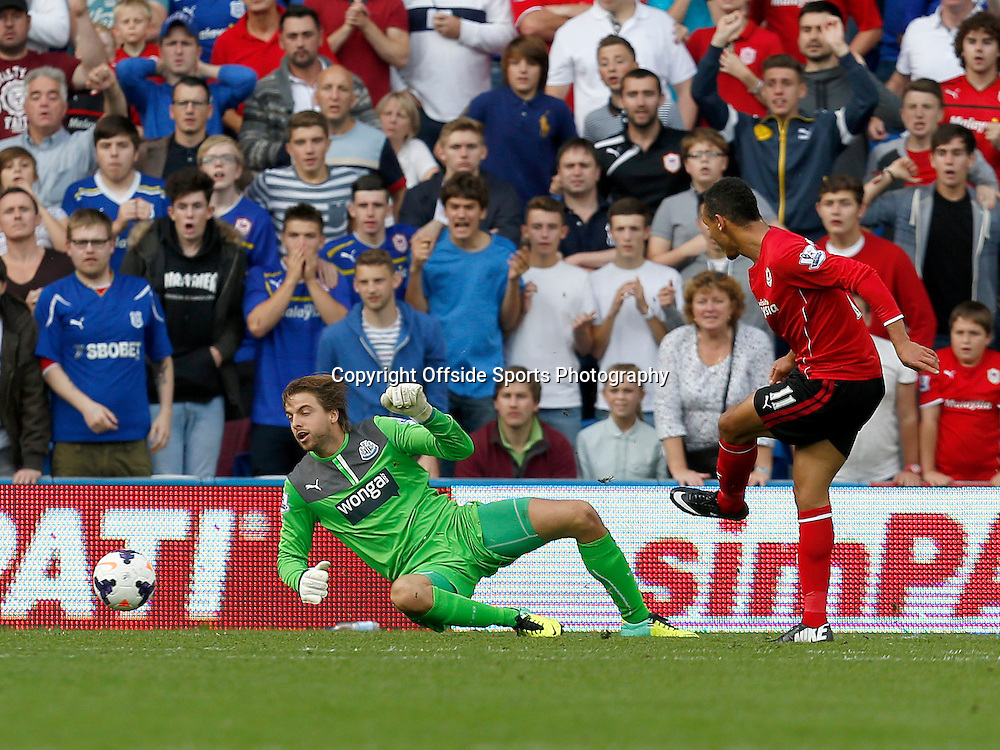 5th October 2013- Barclays Premier League - Cardiff City Vs Newcastle United - Peter Odemwingie of Cardiff City shoots past Newcastle United keeper Tim Krul to score. (1-2) - Photo: Paul Roberts / Offside.