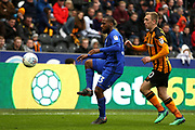 Cardiff City midfielder Junior Hoilett (33) controls the ball closely watched by Hull City forward Jarrod Bowen (20) during the EFL Sky Bet Championship match between Hull City and Cardiff City at the KCOM Stadium, Kingston upon Hull, England on 28 April 2018. Picture by Mick Atkins.