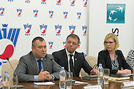 (L) Jaroslaw Dabrowski VicePresident of Warsaw City and (C) Krzysztof Suski - President of Polish Tennis Association during press conference the BNP Paribas Davis Cup 2014 between Poland and Croatia at Wedding Palace in Warsaw on March 25, 2014.<br /> <br /> Poland, Warsaw, March 25, 2014<br /> <br /> Picture also available in RAW (NEF) or TIFF format on special request.<br /> <br /> For editorial use only. Any commercial or promotional use requires permission.<br /> <br /> Mandatory credit:<br /> Photo by © Adam Nurkiewicz / Mediasport