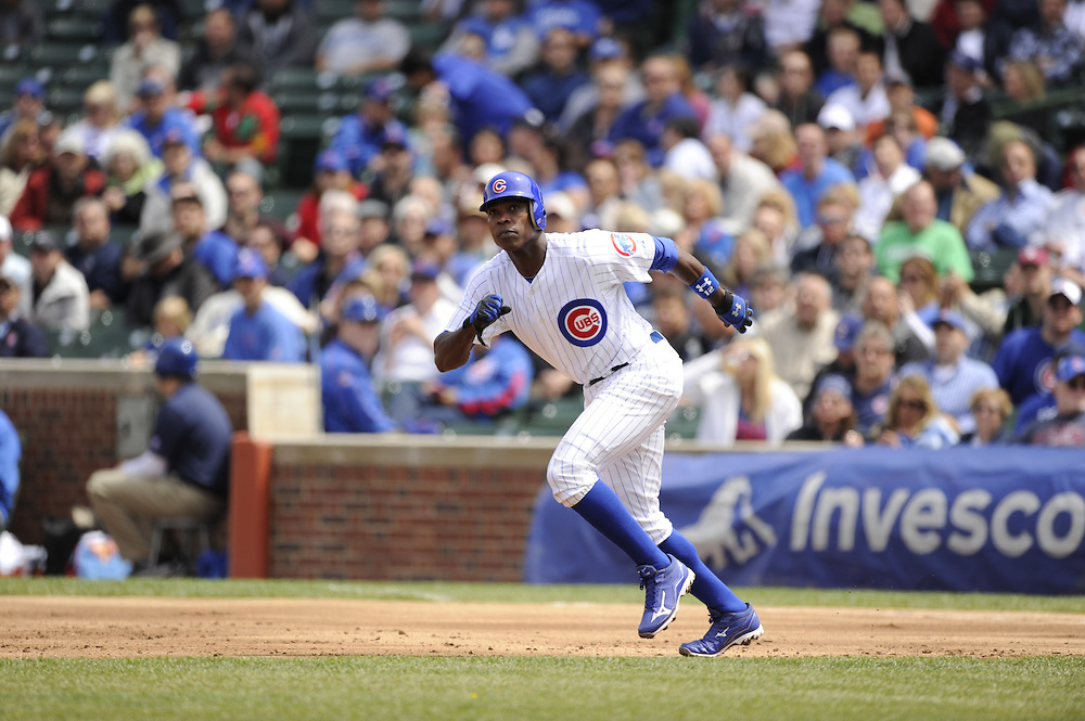 CHICAGO - MAY  04:  Alfonso Soriano #12 of the Chicago Cubs runs the bases against the Los Angeles Dodgers on May 4, 2012 at Wrigley Field in Chicago, Illinois.  The Cubs defeated the Dodgers 5-4.  (Photo by Ron Vesely)   Subject:  Alfonso Soriano