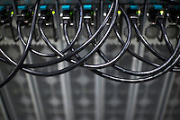 Computer racks at Genesis Mining, Bitcoin mining facility in Keflavík Iceland.