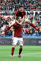 Esultanza Miralem Pjanic Roma dopo il gol. Goal Celebration con Manuel Iturbe <br /> Roma 04-04-2015 Stadio Olimpico, Football Calcio Serie A AS Roma - Napoli Foto Andrea Staccioli / Insidefoto