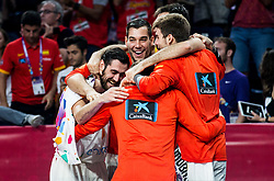 Joan Sastre of Spain, Willy Hernangomez of Spain and other players celebrate during basketball match between National Teams  Spain and Russia at Day 18 in 3rd place match of the FIBA EuroBasket 2017 at Sinan Erdem Dome in Istanbul, Turkey on September 17, 2017. Photo by Vid Ponikvar / Sportida