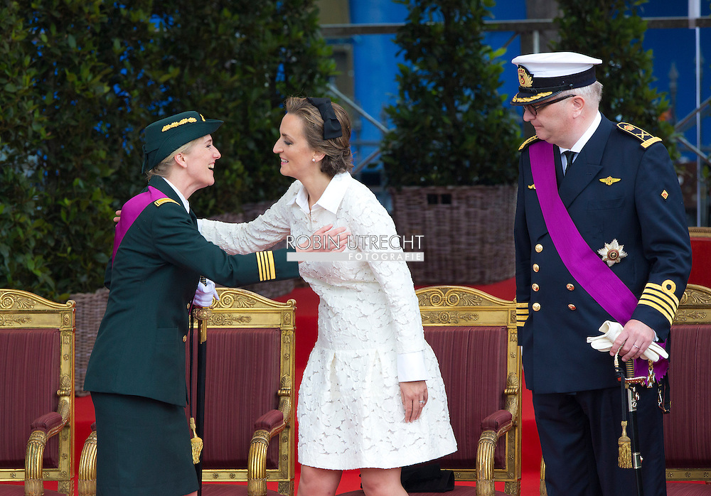 20140721 - BRUSSELS, BELGIUM: Prince Lorenz of Belgium, Princess Astrid of Belgium, Princess Claire of Belgium and Prince Laurent of Belgium pictured during the military parade on the Belgian National Day, Monday 21 July 2014.  COPYRIGHT ROBIN UTRECHT