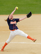 Middletown, NY - Orange County Community College pitcher Ashley Renwick winds up against Mercer County Community College during the National Junior College Athletic Association District G women's softball championship game at Fancher Davidge Park on May 5, 2007.
