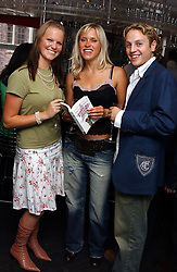 "Left to right, CATHY ELLIS, GEORGE WOOD and actress BETH CORDINGLEY  at a party to celebrate the publication of a ""Diary of A C List Celebrity"" by Paul Hendy held at Bar 19/21 Soho House, 21 Old Compton Street, London W1 on 13th July 2004."
