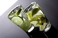 Close up of beverage with lime