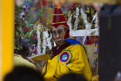 November 1, 2016 - Mcleodganj, himachal pradesh, India - His Holiness the Dalai Lama wearing red hat during the long life prayer at Tsugla Khang Temple, Mcleodganj, Dharamshala. Hundred of Tibetan in exile and Tibetan followers participated in long life prayer for Dalai Lama. (Credit Image: © Shailesh Bhatnagar/Pacific Press via ZUMA Wire)