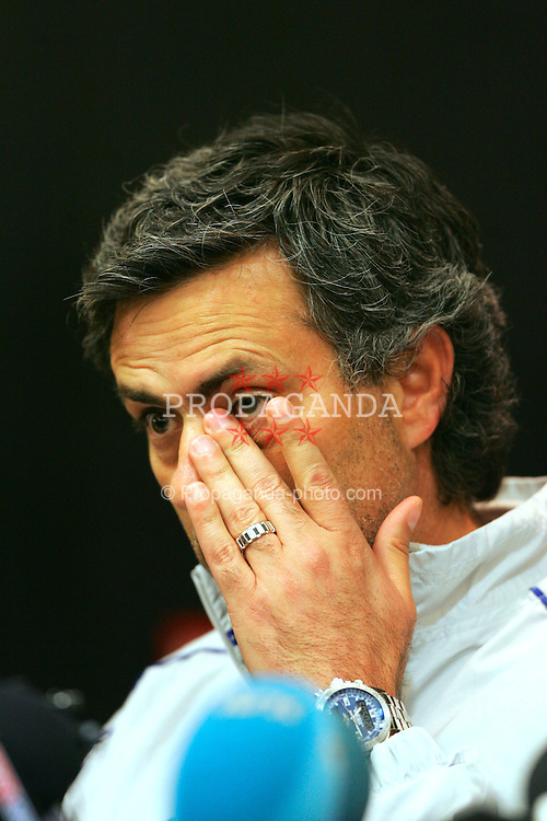 LIVERPOOL, ENGLAND. MONDAY, MAY 2nd, 2005: Chelsea's manager Jose 'Maureen' Mourinho at a press conference ahead of his side's UEFA Champions League Semi Final 2nd Leg against four times European Cup winners Liverpool at Anfield. (Pic by David Rawcliffe/Propaganda)