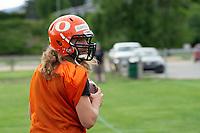 KELOWNA, BC - MAY 10: Kai Sampson looks for the pass during Okanagan Sun Main Training camp at the Apple Bowl on July 12, 2019 in Kelowna, Canada. (Photo by Marissa Baecker/Shoot the Breeze)