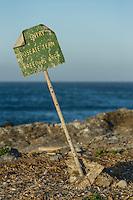 Rosette Tern breeding colony signage, Bird Island, Algoa Bay, Eastern Cape, South Africa