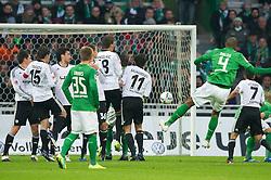 10.12.2011, Weser Stadion, Bremen, GER, 1.FBL, Werder Bremen vs VFL Wolfsburg, im BildFREISTOSS Naldo (Bremen #4) neben der Mauer Hasan Salihamidzic (Wolfsburg #11) Srdjan Lakic (Wolfsburg #9) Christian Träsch/ Traesch (Wolfsburg #15) Florian Trinks (Bremen #35) Josué (Wolfsburg #7). // during the Match GER, 1.FBL, Werder Bremen vs VFL Wolfsburg,  Weser Stadion, Bremen, Germany, on 2011/12/10.EXPA Pictures © 2011, PhotoCredit: EXPA/ nph/ Kokenge..***** ATTENTION - OUT OF GER, CRO *****