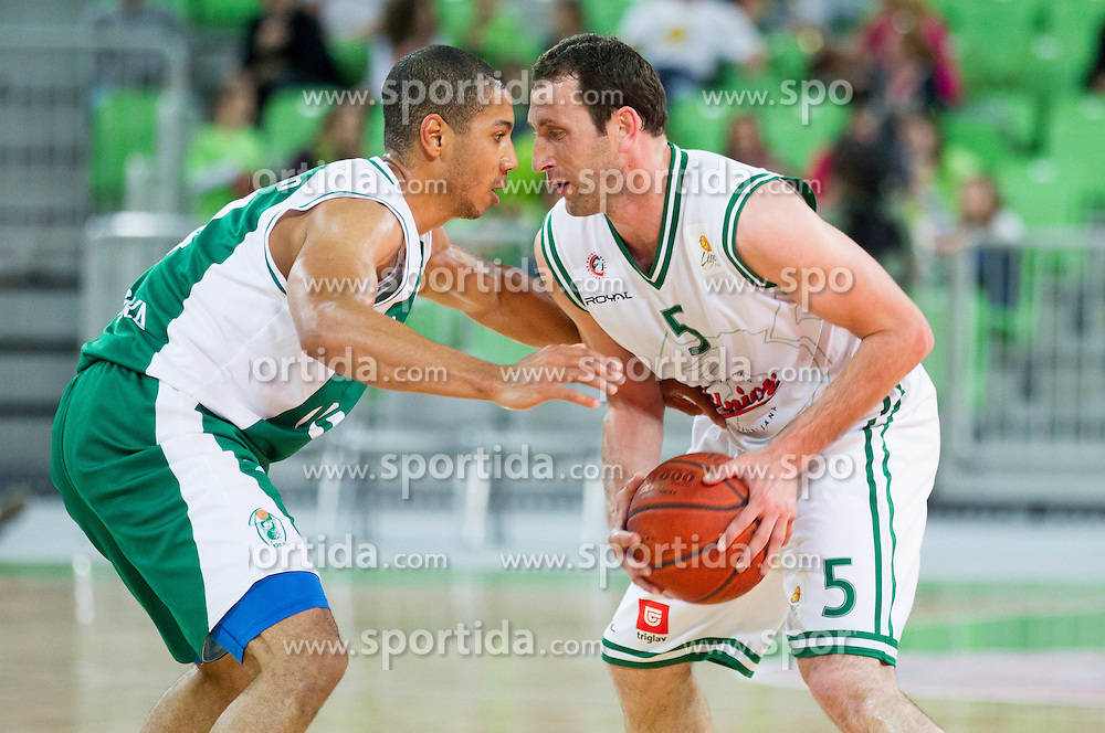 Mustafa Abdul-Hamid of Krka vs Goran Jeretin of Olimpija  during basketball match between KK Union Olimpija and KK Krka in 2nd Final match of Telemach Slovenian Champion League 2011/12, on May 20, 2012 in Arena Stozice, Ljubljana, Slovenia. Krka defeated Union Olimpija 75-65. (Photo by Vid Ponikvar / Sportida.com)