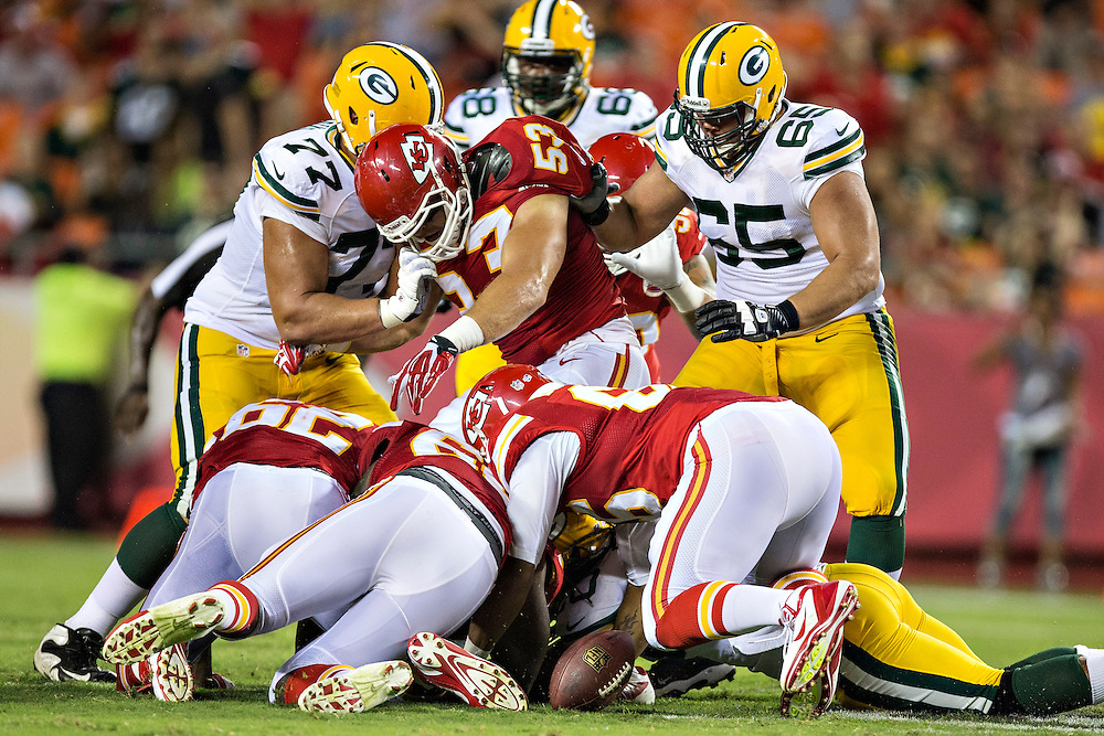 KANSAS CITY, MO - AUGUST 29:  Mike Catapano #53 of the Kansas City Chiefs tries to get after a fumble during the last preseason game against the Green Bay Packers at Arrowhead Stadium on August 29, 2013 in Kansas CIty, Missouri.  (Photo by Wesley Hitt/Getty Images) *** Local Caption *** Mike Catapano