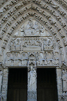Entrance to Notre-Dame cathedral, Paris, France<br />