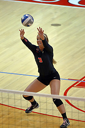 17 October 2015: Courtney Pence(3) keeps the ball in play with a high dig during an NCAA women's volleyball match between the Southern Illinois Salukis and the Illinois State Redbirds at Redbird Arena in Normal IL (Photo by Alan Look)
