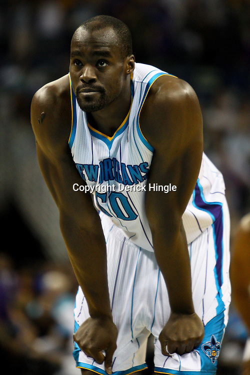 April 6, 2011; New Orleans, LA, USA; New Orleans Hornets center Emeka Okafor (50) against the Houston Rockets during the first half at the New Orleans Arena.   Mandatory Credit: Derick E. Hingle-US PRESSWIRE