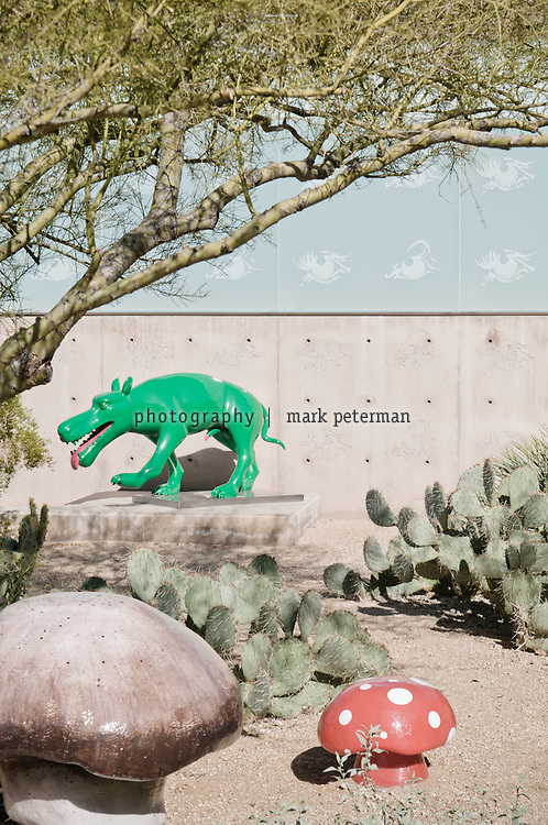 Scottsdale, AZ-Kent and VIcki Logan residence-03/03/11 Green Dog by Zhou Chunya in the courtyard. Mark Peterman for The Wall Street Journal. Mark Peterman for The Wall Street Journal