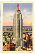 The Empire State Buiding, -- the tallest building in the world when it was built in 1931 -- depicted in a linen-finish postcard from approximately that time. From the Bill Wisser Postcard Collection.