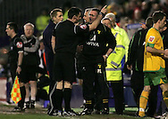 Tranmere - Friday, April 2nd, 2010: Paul Lambert, manager of Norwich City is sent into the stands by referee Mr IIderston during the match against Tranmere Rovers during the Coca Cola League One match at Prenton Park, Tranmere. (Pic by Michael Sedgwick/Focus Images)