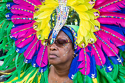 London, August 28 2017. A woman appears to doze whilst her float waits to move on on Day Two of the Notting Hill Carnival, Europe's biggest street party held over two days of the August bank holiday weekend, attracting over a million people. © Paul Davey.