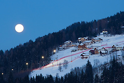26.01.2013, Schladming, AUT, FIS Weltmeisterschaften Ski Alpin, Schladming 2013, Vorberichte, im Bild die beleuchtete Piste der Planai bei Vollmond am 26.01.2013 // race slope on Planai with flood light at full moon on 2013/01/26, preview to the FIS Alpine World Ski Championships 2013 at Schladming, Austria on 2013/01/26. EXPA Pictures © 2013, PhotoCredit: EXPA/ Martin Huber