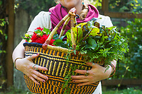 Young woman holding fresh vegetables out of the garden.