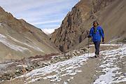 India 2006: Lorna Brooks walks in the Rumbak Valley in Hemis National Park, Ladakh.