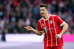 31.03.2018, Allianz Arena, Muenchen, GER, 1. FBL, FC Bayern Muenchen vs Borussia Dortmund, 28. Runde, im Bild Robert Lewandowski (FC Bayern Muenchen #9) Jubel nach dem 1:0 // during the German Bundesliga 28th round match between FC Bayern Munich and Borussia Dortmund at the Allianz Arena in Muenchen, Germany on 2018/03/31. EXPA Pictures © 2018, PhotoCredit: EXPA/ Eibner-Pressefoto/ Harry Langer<br /> <br /> *****ATTENTION - OUT of GER*****