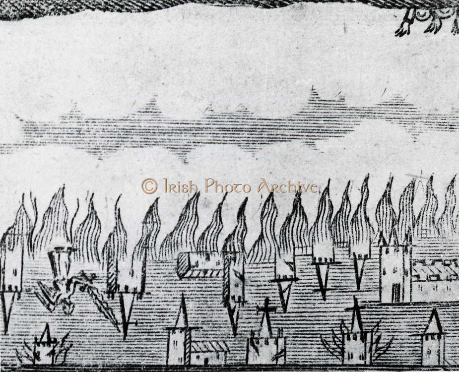 Aurora Borealis seen near York, England , in 1660, said to resemble steeples in the sky.
