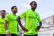 Gaetan Bong in the line-up before kick-off during the Pre-Season Friendly match between Brighton and Hove Albion and Sevilla at the American Express Community Stadium, Brighton and Hove, England on 2 August 2015. Photo by Bennett Dean.