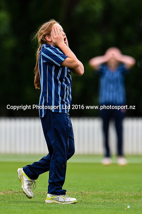 Action form the Tawa College V St Hilda's Collegiate match during the NZCT Secondary School Girls Competition Bert Sutcliffe Oval, Lincoln, New Zealand, 4th December 2016. © Copyright Photo: John Davidson / www.photosport.nz
