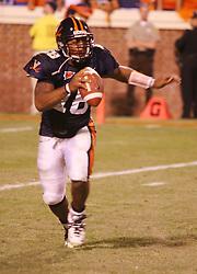 UVA quarterback Marques Hagans (18) in action against FSU.  The Virginia Cavaliers defeated the #4 ranked Florida State University Seminoles 26-21 on October 15, 2005 at Scott Stadium in Charlottesville, VA.