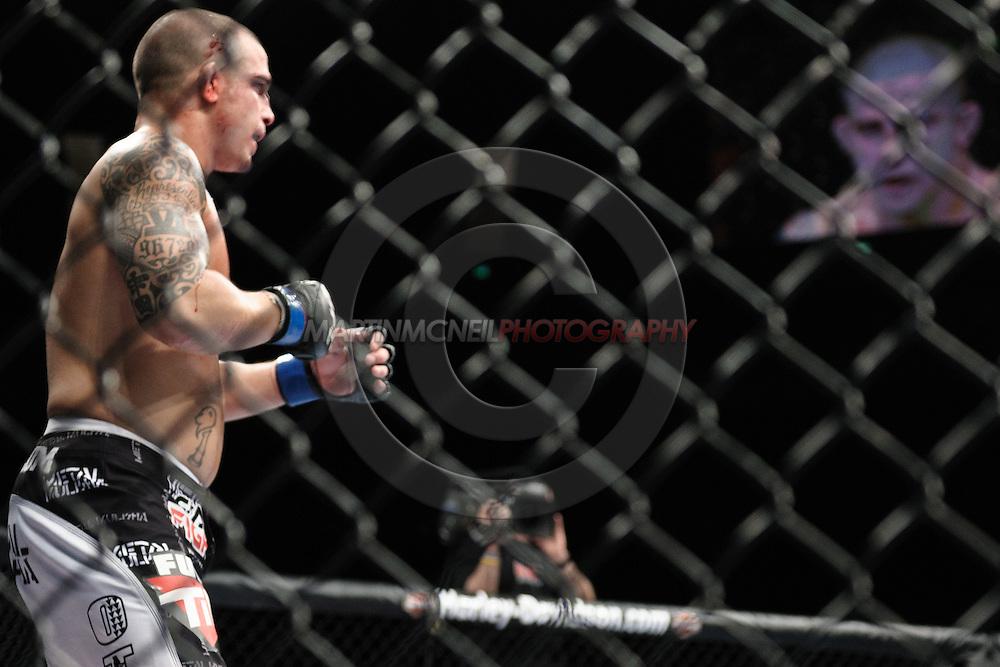 "LONDON, ENGLAND, FEBRUARY 21, 2009: Troy Mandaloniz during ""UFC 95: Sanchez vs. Stevenson"" inside the O2 Arena in Greenwich, London."
