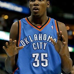 Oct 10, 2009; New Orleans, LA, USA;  Oklahoma City Thunder forward Kevin Durant (35) reacts to an officials call during the first quarter against the New Orleans Hornets at the New Orleans Arena. The Hornets defeated the Thunder 88-79. Mandatory Credit: Derick E. Hingle-US PRESSWIRE